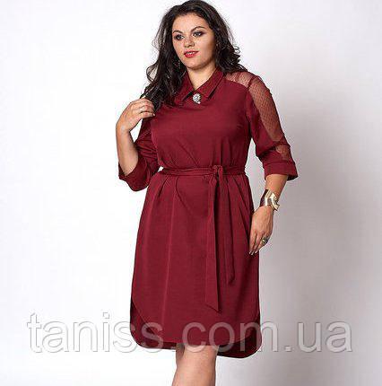 Нарядное деловое платье с поясом, ткань костюмка, рукав сетка, брошь в комплекте р. 50,52,54 бордо (570)