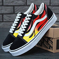 Кеды Vans Old Skool Black/White Flames (унисекс), vans old school, ванс олд скул