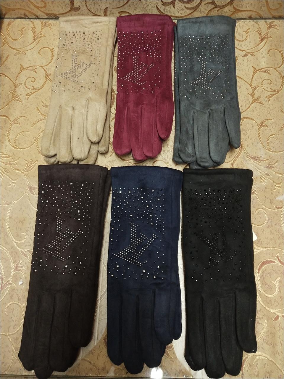 Замш женские перчатки LV с сенсором для работы на телефоне плоншете Anna-мода стильные только оптом