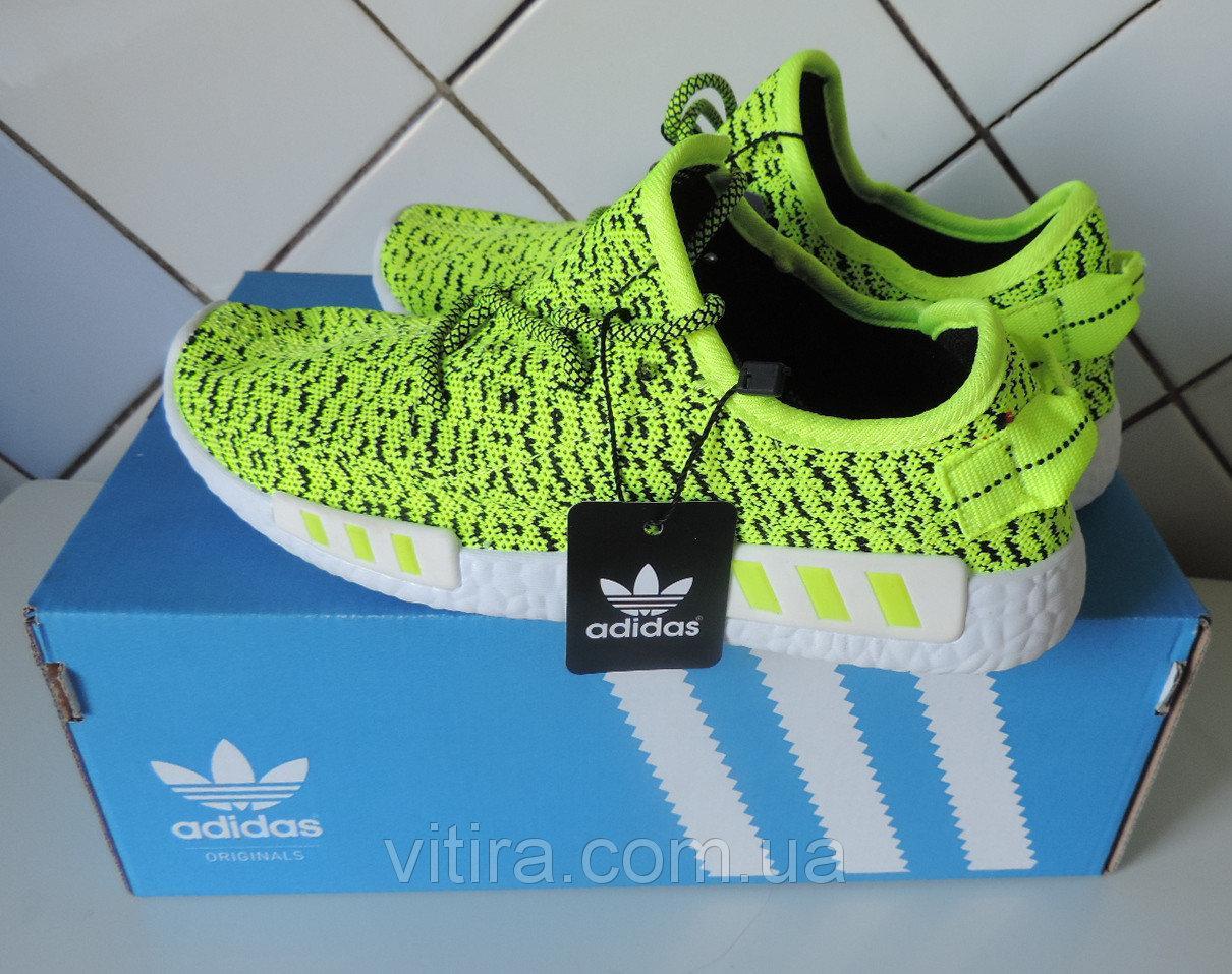 Кроссовки Adidas летние, женские и подростковые - Yeezy Boost, реплика Зеленые