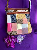 """Сумка-планшет, сумка-кроссбоди текстильная итальянской марки """"Coach"""" в стиле пэчворк"""
