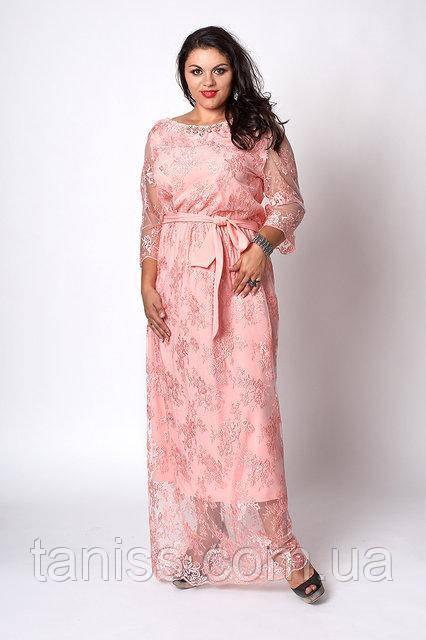 Нарядное платье в пол из шикарного гипюра,макси,отделка украшение камни р. 50,52,54 абрикос (569)