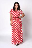 Летнее длинное платье макси, в пол, штапель, большого размера, р.52-54.54-56.56-58 красная клетка (504)