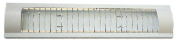 Светильник люминесцентный 2x18 T8 две лампы сереб. решетка (без ламп) /LM918R