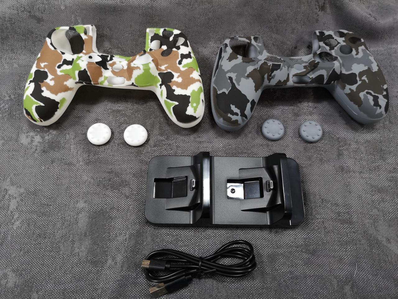 Darius Box V8 - Набор  2 чехла + 4 накладок  + зарядная станция для Playstation 4