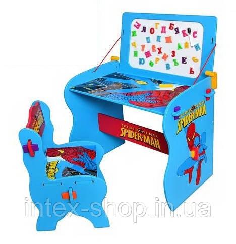 """Детская парта со стульчиком и магнитной доской """"Spiderman"""" M 0436"""