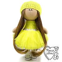 Текстильна лялька в салатово-жовтому, маленька