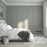Шкаф серый матовый фасады мдф фрезерованные рамка