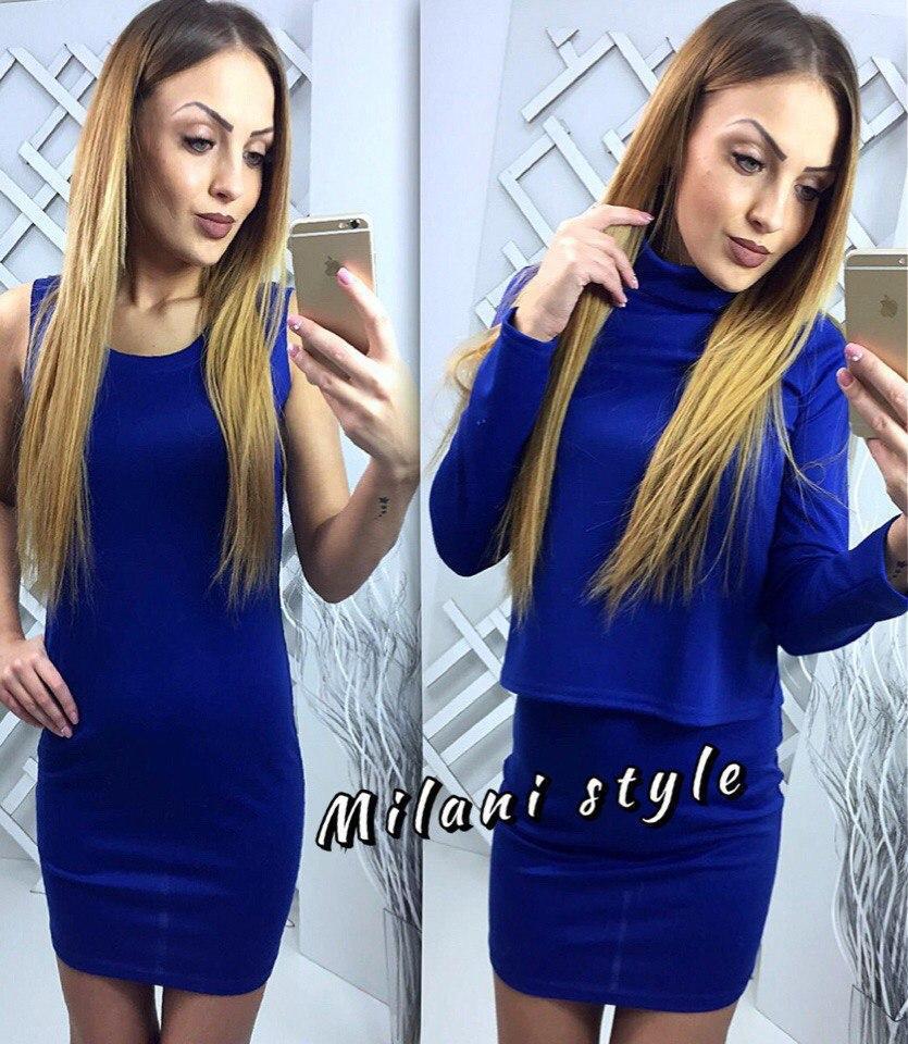 Трикотажный комплект из платья с кофтой Синий Марсала Черный Изумруд Серый