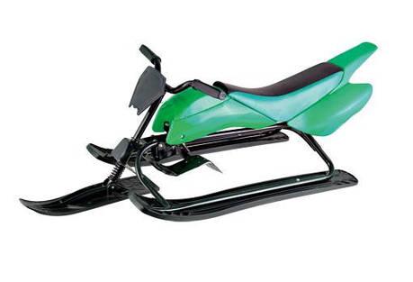 Cнегокат снегоход-мотоцикл, цвет зеленый и синий, фото 2