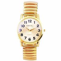 Часы наручные 4298 резинка Круг муж. золотой