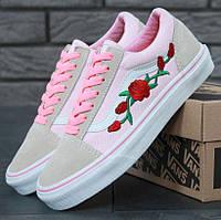Кеды Vans Old Skool Pink Roses, vans old school, ванс олд скул, кеды венс