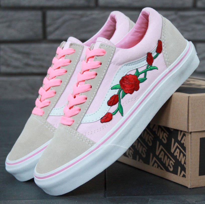 Кеды Vans Old Skool Pink Roses, vans old school, ванс олд скул, кеды ... bef16545227
