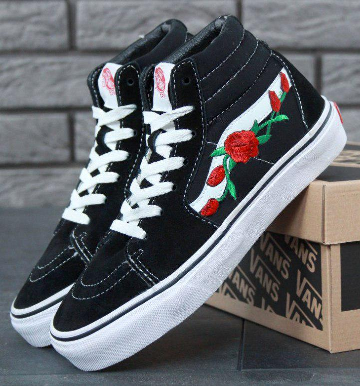 Женские кеды Vans Old Skool high CANVAS SK8-HI Roses, vans old school, ванс олд скул