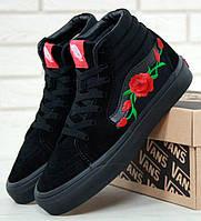 Женские кеды Vans Old Skool high CANVAS SK8-HI Roses, vans old school, ванс олд скул
