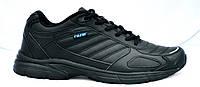 Кроссовки из натуральной кожи, черные. Размеры 36, 37, 38, 40, 41, 42, 43, 44, 45. Restime PWO18128.
