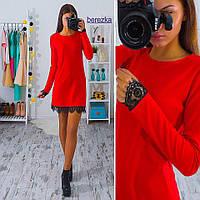 Приталенное платье с кружевом Мини Красное