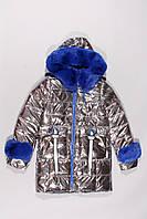 Пальто зимнее серебрянное для девочек Black&Red