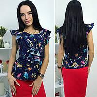 d296ed25e0b Элегантная синяя женская блуза декорировано рюшами и принтом. Арт - 7191 69