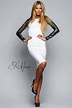 Облегающее белое платье с черными рукавами (Кожаный рукав sk), фото 3