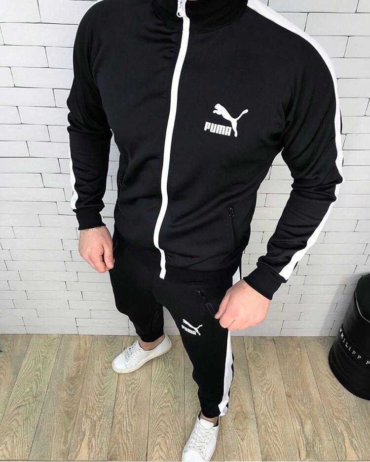 86ecb2f10c6 Мужской спортивный костюм Puma черно-белый топ реплика - Интернет-магазин  обуви и одежды