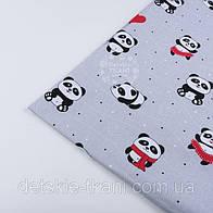 """Лоскут ткани №1272 """"Панды в красных платьях"""" на сером фоне"""
