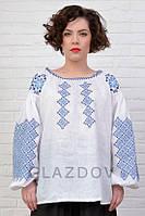 Льняная женская белая вышиванка с голубым орнаментом