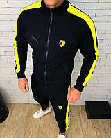 Мужской спортивный костюм Puma черный с желтым топ реплика
