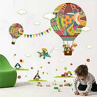 """Декоративные наклейки для детского сада, наклейка в детскую """"звери на воздушных шарах"""" 75*78см (лист30*90см)"""