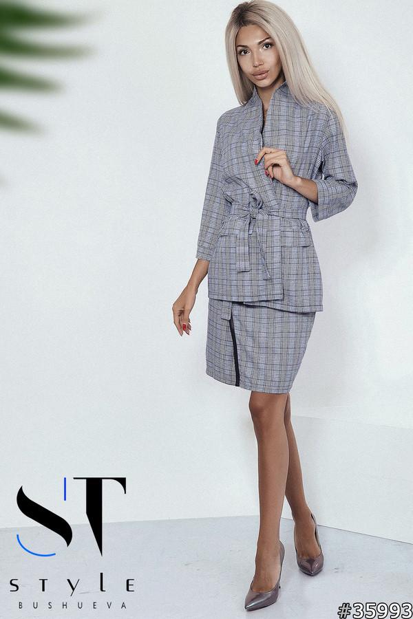 Стильний спідничний костюм в стилі casual розміри S-L