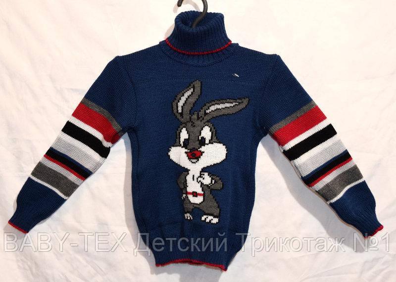 """Детский вязаный свитер """"Зайчик"""" для мальчика"""
