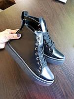 Кеды высокие женские черные кожаные натуральные, ботинки демисезонные на  шнуровке 9b1a687d314