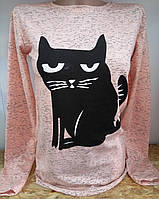 Батник з котом коттоновый жіночий, фото 1