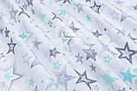 """Ткань хлопковая """"Звёзды с напылением"""" мятные, серые (№ 1484), фото 8"""