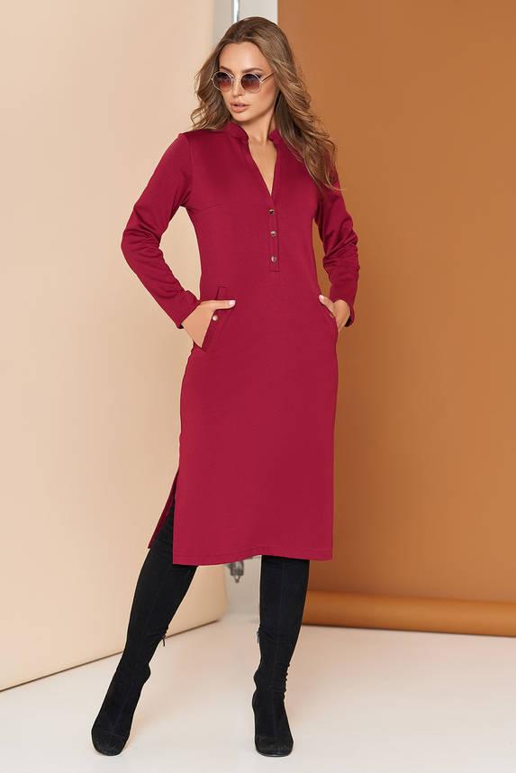 Трикотажное платье на кнопках 44-54р бордо, фото 2