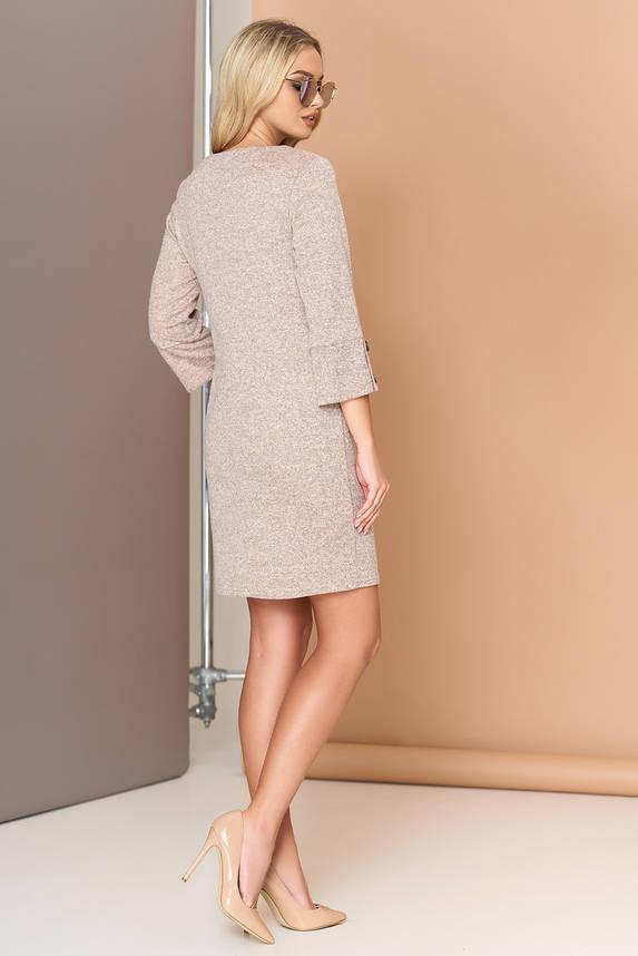 Платье трикотажное с кокеткой 44-50р бежевое, фото 2
