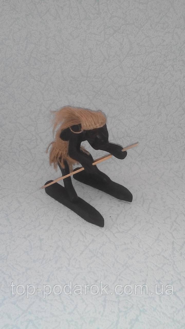 Статуэтка деревянная Лыжник