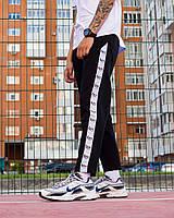 Стильные мужские спортивные штаны Scorpion (Скорпион) черные с белыми лампасами - размер L