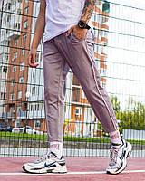 Молодежные спортивные штаны Cage (Джонни Кейдж) светло-серые с белой полоской