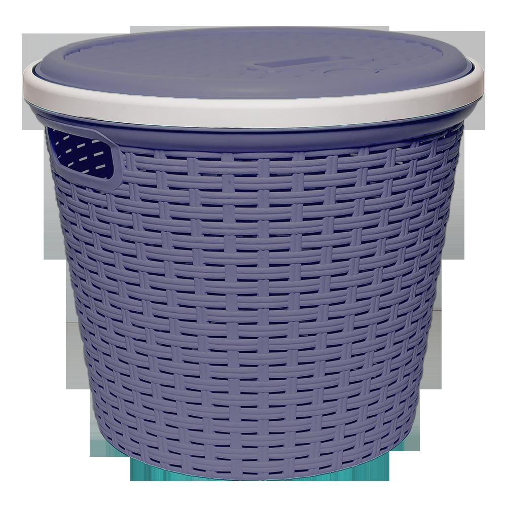 Корзина для белья под ротанг 13 л фиолетовая