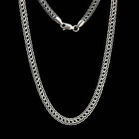Серебряная цепочка, 500мм, 22 грамма, плетение Питон, чернение