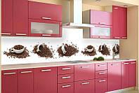 Кухонный фартук Кофейные чашки, (полноцветная фотопечать, стеновая панель для кухни) 600*2500 мм