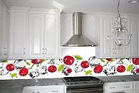 Кухонный фартук Вишня и лед (ПВХ пленка самоклеющаяся скинали для кухни) 600*2500 мм
