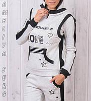 Зимний спортивный костюм женский тройка с жилеткой брендовый турецкий со стразами №8867 молочный
