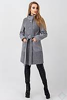 Демисезонное женское пальто из полушерсти Барселона, серый, фото 1