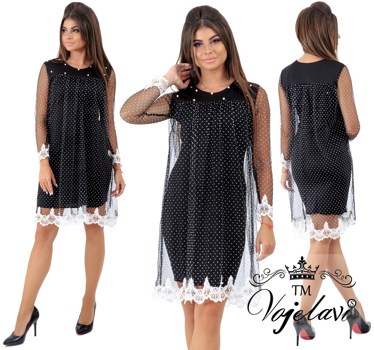 490465a8cf27 Стильное женское платье с кружевной сеткой т.м. Vojelavi 1623 оптом ...