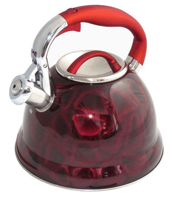 Чайник со свистком металлический, 3D рисунок Edenberg EB-1910