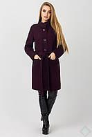 Демисезонное женское пальто из полушерсти Барселона, баклажан, фото 1