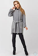 Демисезонное женское пальто из полушерсти Бельгия, серый меланж, фото 1