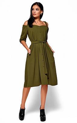 (S, M, L) Вишукане плаття-міді кольору хакі Letisia